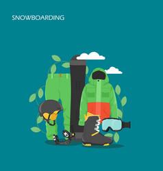 snowboarding equipment flat style design vector image