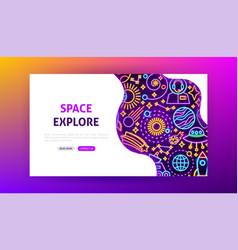 space explore neon landing page vector image