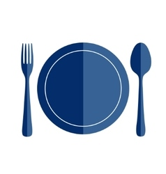 Spoon and fork and plate shapes flat style vector image
