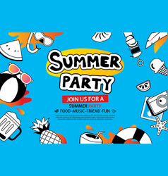summer party with doodle icon and design on blue vector image