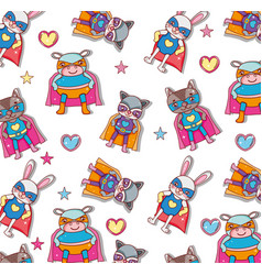 superhero animals background vector image