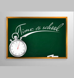 time to schooll blackboard background and wooden vector image