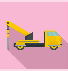Truck drill icon flat style vector