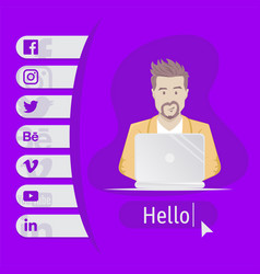 User contacts social icons man sitting at table vector