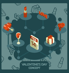 valentines day color concept isometric icons vector image