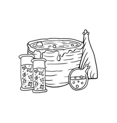 vat with poison poison and pumpkin halloween vector image