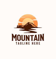 Vintage sunrise mountain pine tree evergreen tree vector