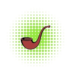 Vintage tobacco pipe icon comics style vector image