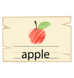 wordcard template with word apple vector image