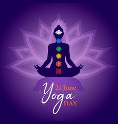 yoga day meditation card person in lotus pose vector image