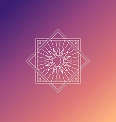 abstract emblem in trendy linear style with sun vector image vector image