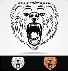 Angry Bear Face Tribal vector image vector image