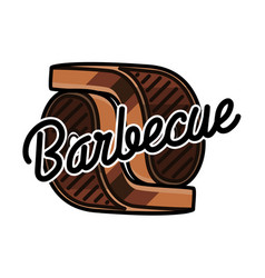 color vintage barbecue emblem vector image vector image