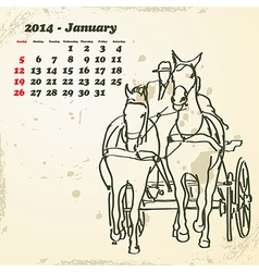 January 2014 hand drawn horse calendar vector image