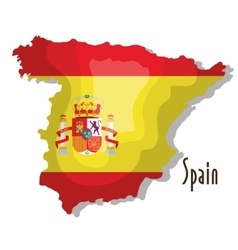 spain map with flag isolated icon design vector image