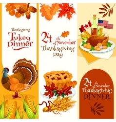 Thanksgiving Day dinner invitation banners vector image vector image