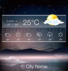 Weather Widget with landscape background vector image vector image