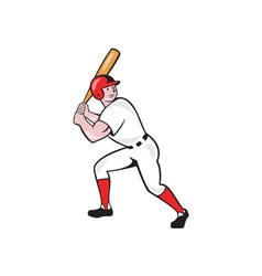 Baseball Player Bat Side Isolated Cartoon vector image vector image
