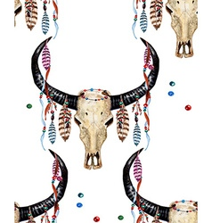 Buffalo Skull and Feather pattern3W vector image vector image
