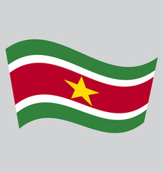 flag of suriname waving on gray background vector image
