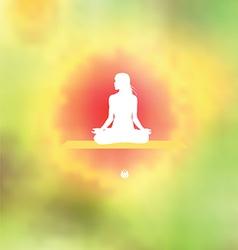Meditation pose blurred floral background vector