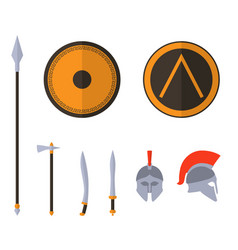 set of ancient greek spartan weapon and vector image
