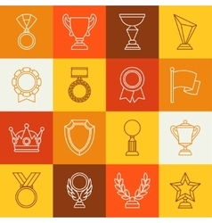 Awards and trophy sport or business line icons set vector image vector image