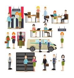 bank people flat icon set vector image