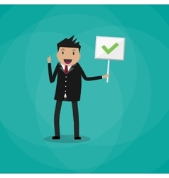 Cartoon Businessman hold sign with tick vector image vector image
