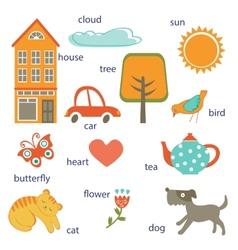 Cute preschool words collection vector image vector image