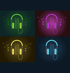 Flat design colorful headphones in four style vector