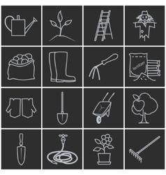 Line Grey Icons Gardening Equipment vector image vector image
