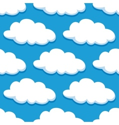 Cartoon seamless pattern with white clouds vector image vector image