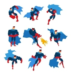 Comics Superhero With Blue Cape In Action Classic vector image vector image