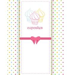 cupcake polka dot background and panel vector image