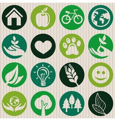 green seamless pattern with ecology signs vector image vector image
