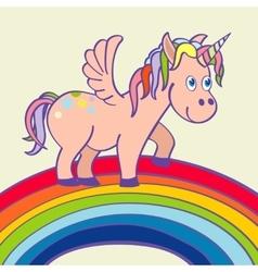 Hand drawn unicorn standing on a rainbow vector