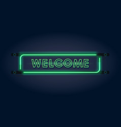 welcome green neon sign vector image