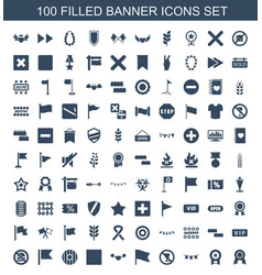 100 banner icons vector