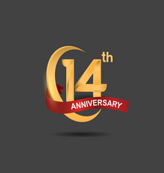 14 anniversary design logotype golden color vector