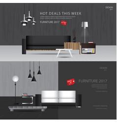 2 banner furniture sale design template vector