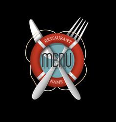 3d retro menu design for seafood restaurant vector image