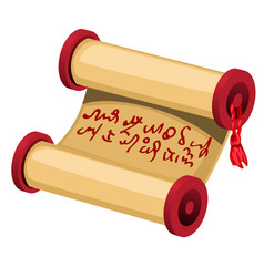 a rolled sheet of brown paper with a handwritten vector image