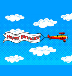 airplane inscription across sky pop art vector image