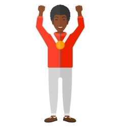 Athlete with medal and hands raised vector image