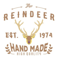 Authentic hipster logotype with reindeer and vector
