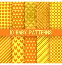Baby different seamless patterns Orange and yellow vector