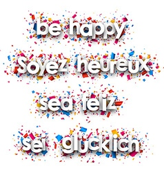 Be happy paper banners vector image