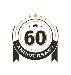 birtday vintage logo template to 60 th anniversary vector image