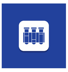 blue round button for test tube science vector image